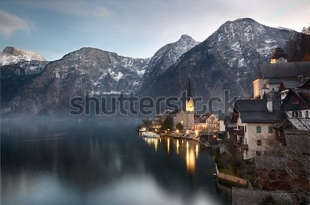 Dusk at Lake Hallstatt, Salzkammergut, Austrian Alps Stock photo © fisfra