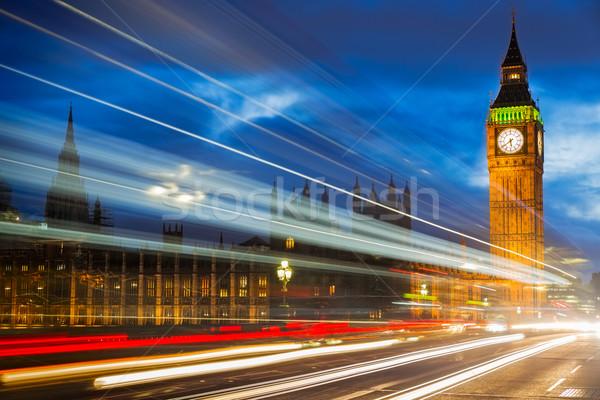 Big Ben Westminster híd London felhők város Stock fotó © fisfra