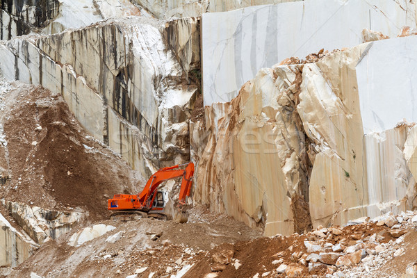 Marble quarry with  excavator in Carrara, Tuscany, Italy Stock photo © fisfra