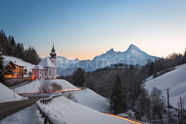 Maria Gern Church in Bavaria with Watzmann, Berchtesgaden, Germa Stock photo © fisfra