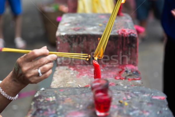 Burning joss sticks at Lunar New Year , Saigon, Vietnam Stock photo © fisfra