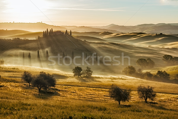 Farmhouse in Val d'Orcia after sunset, Tuscany, Italy Stock photo © fisfra