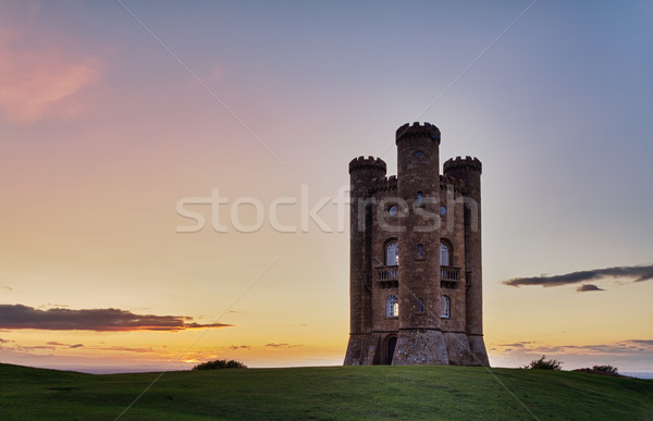 Broadway Tower at sunset with colorful sky, Cotswolds, UK Stock photo © fisfra