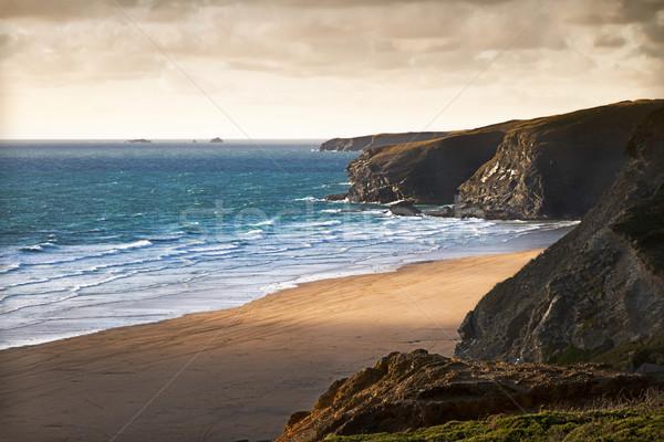 Part Cornwall Anglia tájkép nyár óceán Stock fotó © fisfra