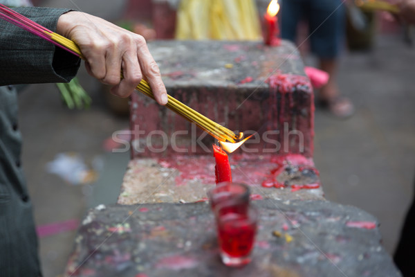 Burning joss sticks at pagoda, Saigon, Vietnam Stock photo © fisfra