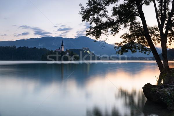 Stock fotó: Sziget · kastély · hajnal · Szlovénia · égbolt · víz