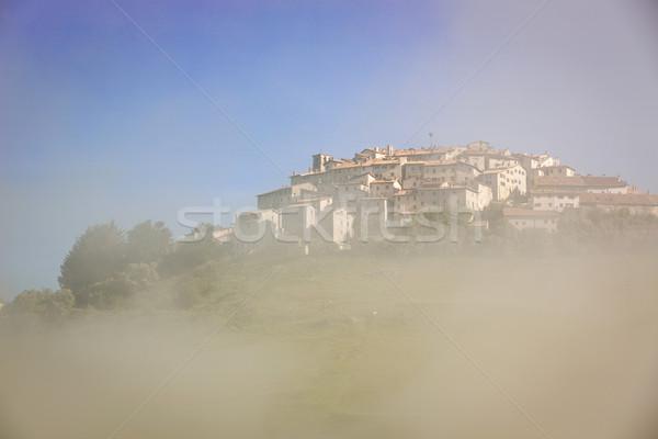 Castelluccio in morning fog, Piano Grande, Umbria, Italy Stock photo © fisfra