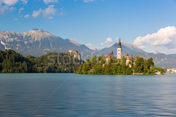 Stock fotó: Tó · sziget · Szlovénia · víz · erdő · tájkép