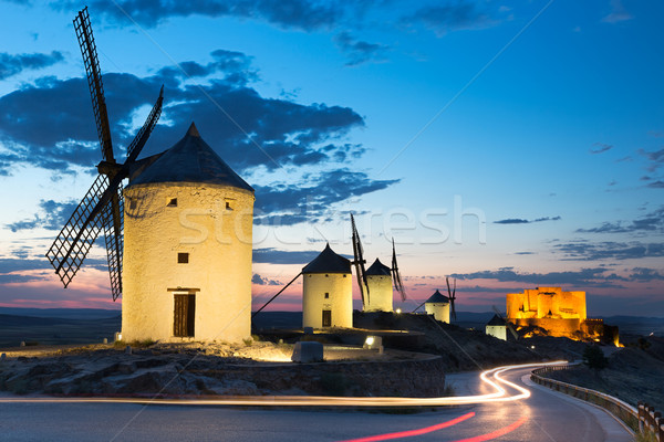 Windmills at dusk, Consuegra, Castile-La Mancha, Spain Stock photo © fisfra