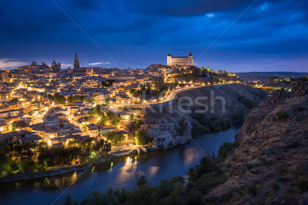 Toledo after sunset, Castile-La Mancha, Spain Stock photo © fisfra