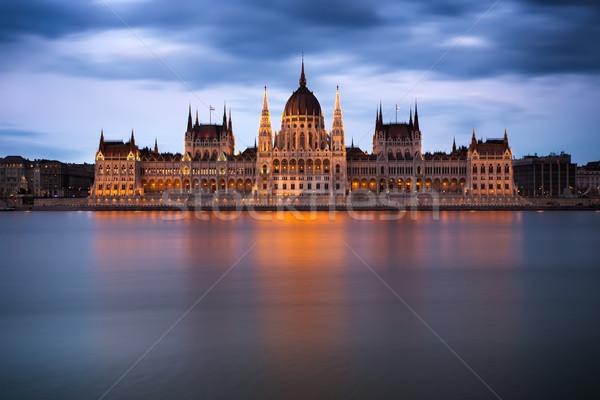 парламент здании рассвета Будапешт Европа Сток-фото © fisfra