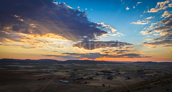 Sunset near Consuegra, Castile-La-Mancha, Spain Stock photo © fisfra