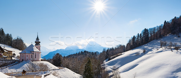 Watzmann at noon with church, Bavaria, Berchtesgaden, Germany Alps Stock photo © fisfra