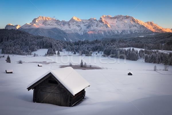 Alpok Németország égbolt erdő naplemente hó Stock fotó © fisfra