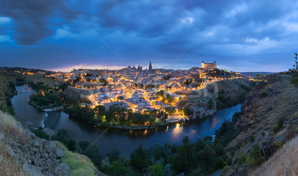 Panoramic view of Toledo after sunset, Spain Stock photo © fisfra