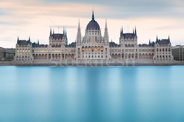 Parlamento Bina şafak Budapeşte mavi Stok fotoğraf © fisfra