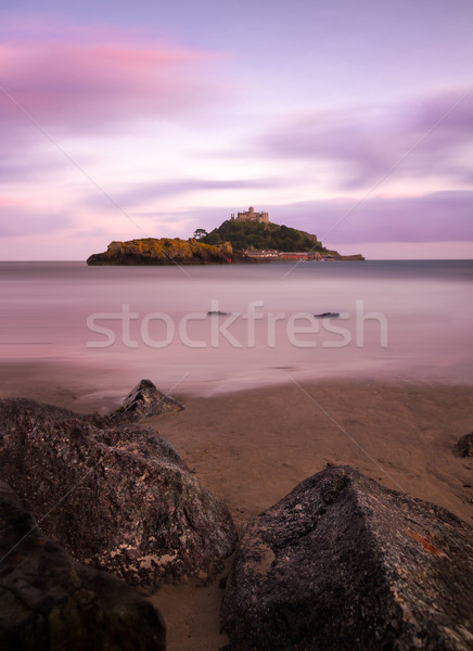 St. Michaels Mount with rocks at dusk, Cornwall, England Stock photo © fisfra