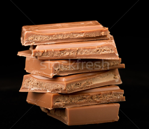 Close-up of chocolate stack with black background Stock photo © fisfra