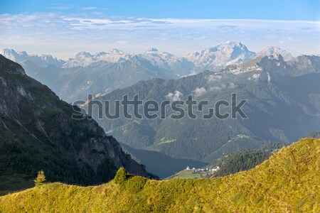 Village in Dolomites, Passo Giau, Alps, Italy Stock photo © fisfra