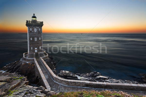 Kermorvan Lighthouse after sunset, Brittany, France Stock photo © fisfra