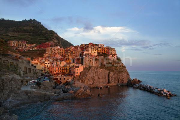 Village of Manarola at sunset, Cinque Terre, Italy Stock photo © fisfra