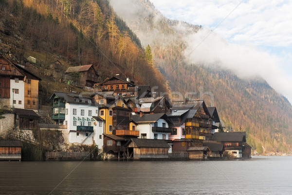 Historic houses at Lake Hallstatt, Alps, Austria Stock photo © fisfra