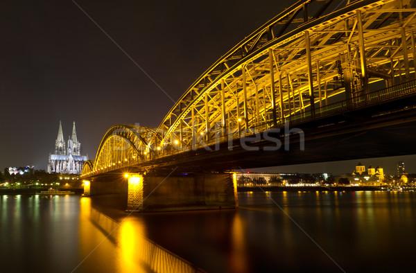 Colonia catedral puente noche Alemania agua Foto stock © fisfra