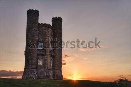 Бродвей башни сумерки трава замок каменные Сток-фото © fisfra