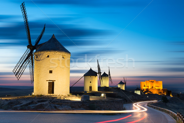 Windmills after sunset, Consuegra, Castile-La Mancha, Spain Stock photo © fisfra