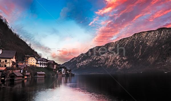 Lake Hallstatt at sunset, Salzkammergut, Austrian Alp Stock photo © fisfra