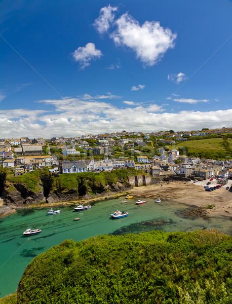 Haven haven Blauw cornwall Engeland hemel Stockfoto © fisfra