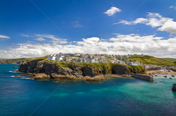 Dorp haven top klif cornwall Engeland Stockfoto © fisfra