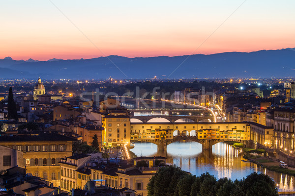 Florence, Arno River and Ponte Vecchio after sunset, Italy Stock photo © fisfra