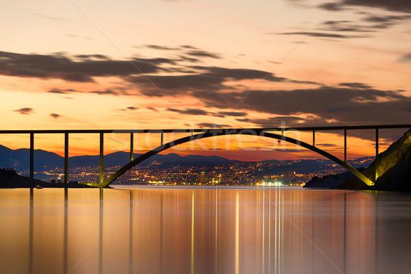 Ponte isola tramonto Croazia nubi città Foto d'archivio © fisfra