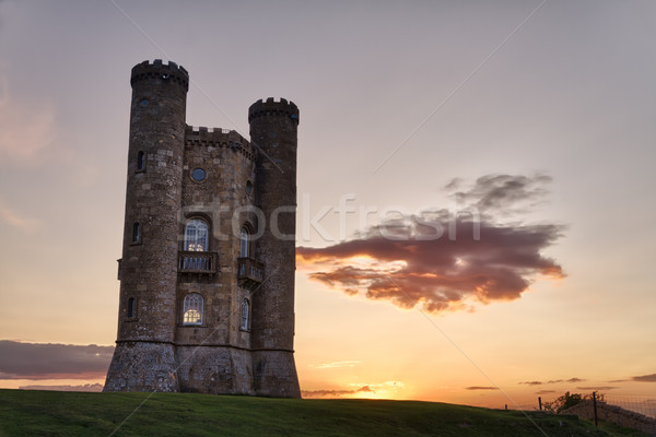 Broadway toren zonsondergang gras kasteel steen Stockfoto © fisfra