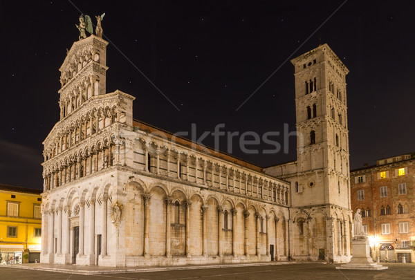 San Michele at night, Lucca, Tuscany, Italy Stock photo © fisfra