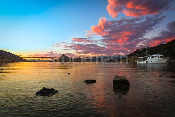 Pont crépuscule coloré ciel Croatie construction Photo stock © fisfra
