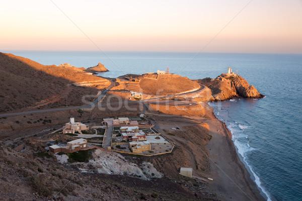 Stok fotoğraf: Deniz · feneri · İspanya · gün · batımı · deniz · mavi · Avrupa