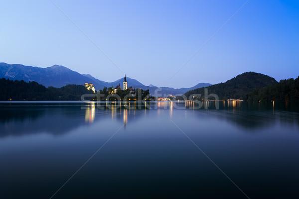 Stock fotó: Hajnal · tó · kék · Szlovénia · tájkép · nyár