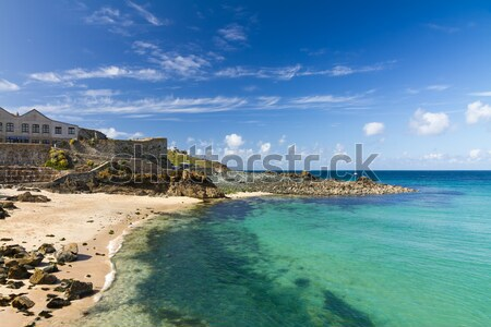 Beach in St. Ives with blue sky, Cornwall, England Stock photo © fisfra