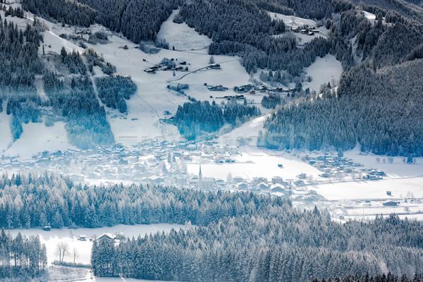 Wintery village in alpine valley, Tyrol, Austriai Stock photo © fisfra