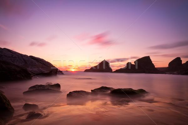 Passi tramonto viola cornwall Inghilterra acqua Foto d'archivio © fisfra