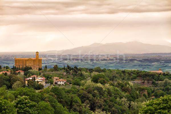 Manzara etrafında Toskana İtalya orman doğa Stok fotoğraf © fisfra