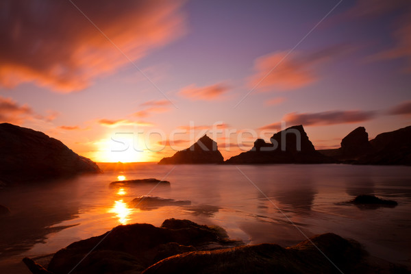 Bedruthan Steps at sunset, Cornwall, England Stock photo © fisfra