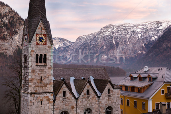 Protestant church of Hallstatt, Salzkammergut, Austrian Alps Stock photo © fisfra