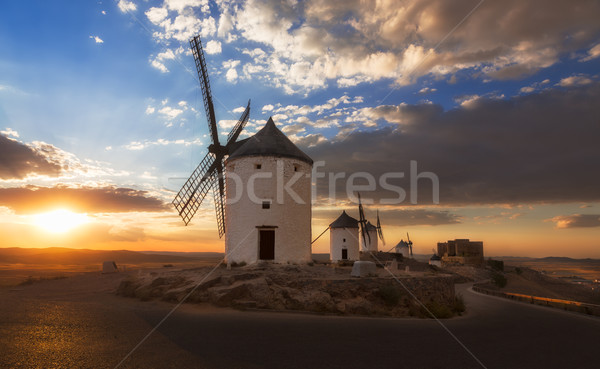 Naplemente Spanyolország felhők épület természet nyár Stock fotó © fisfra