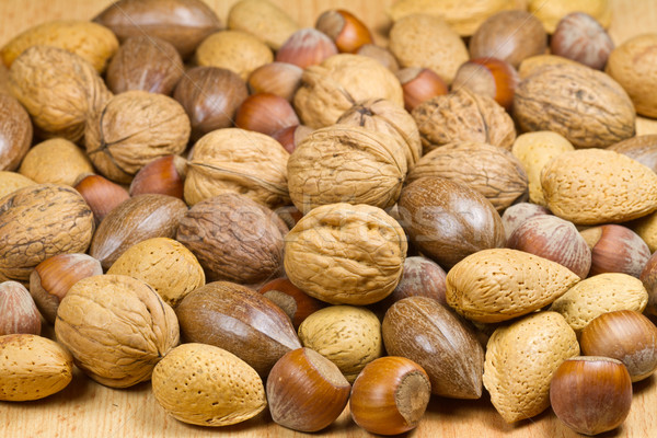 Mixed nuts (hazelnuts, walnuts, shell almonds, pecans) Stock photo © fisfra