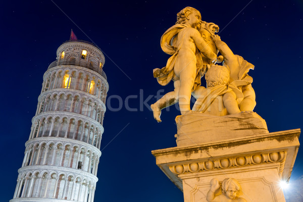 Leaning Tower of Pisa with statue after sunset, Tuscany, Italy Stock photo © fisfra