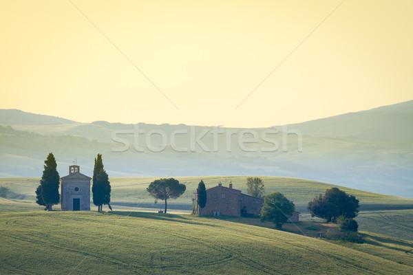 Cappella di Vitaleta, Val d'Orcia, Tuscany, Italy Stock photo © fisfra