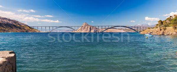 Panorámakép kilátás híd Horvátország víz óceán Stock fotó © fisfra